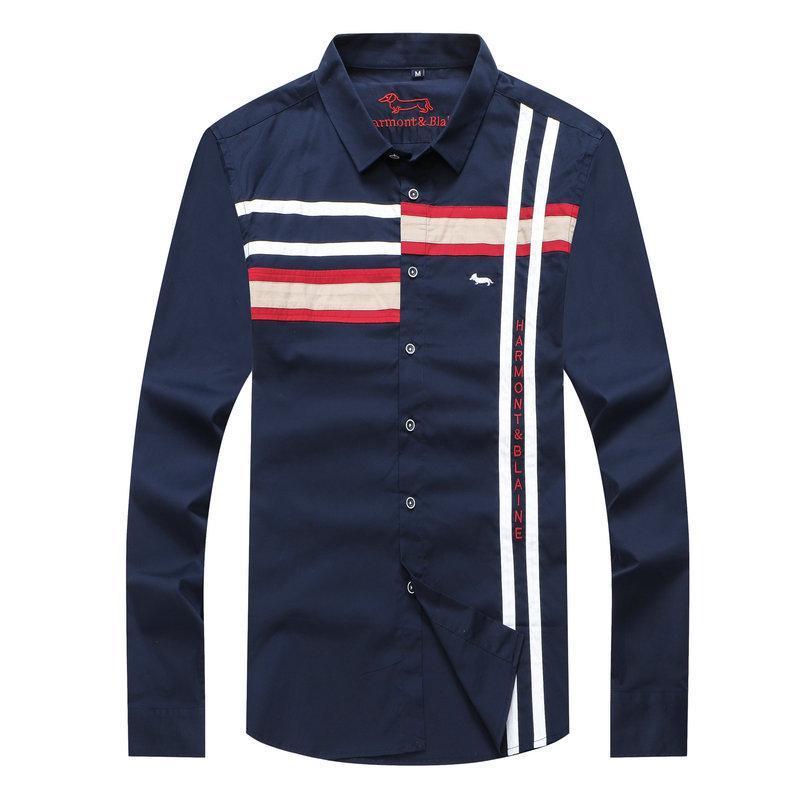 망 하모트에 대한 자수 소셜 셔츠 블레인 브랜드 비즈니스 캐주얼 드레스 셔츠 남성 Blousshirts Camisa Masculina Homme XXL 남자