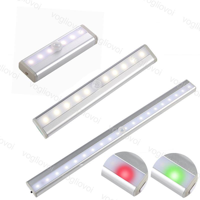 Capteur de mouvement Lumière 6Leds 10leds 20leds Pir LED Armoire Armoire Lampe de lit sous Cabinet Night Lights Fight Scalaise Cuisine DHL