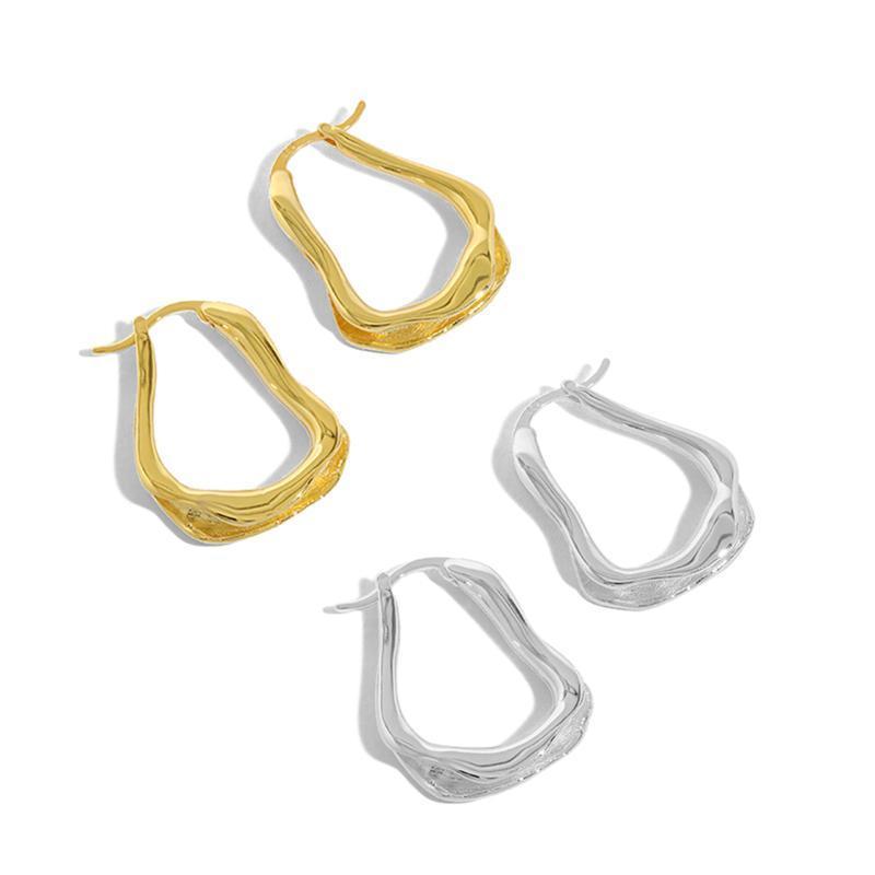 Sterling Gümüş Geometrik Hoop Küpe Hediye Kadınlar Için Tasarımcı Minimalist Küpe Altın Trendy Güzel Aksesuarlar Mücevherat Huggie