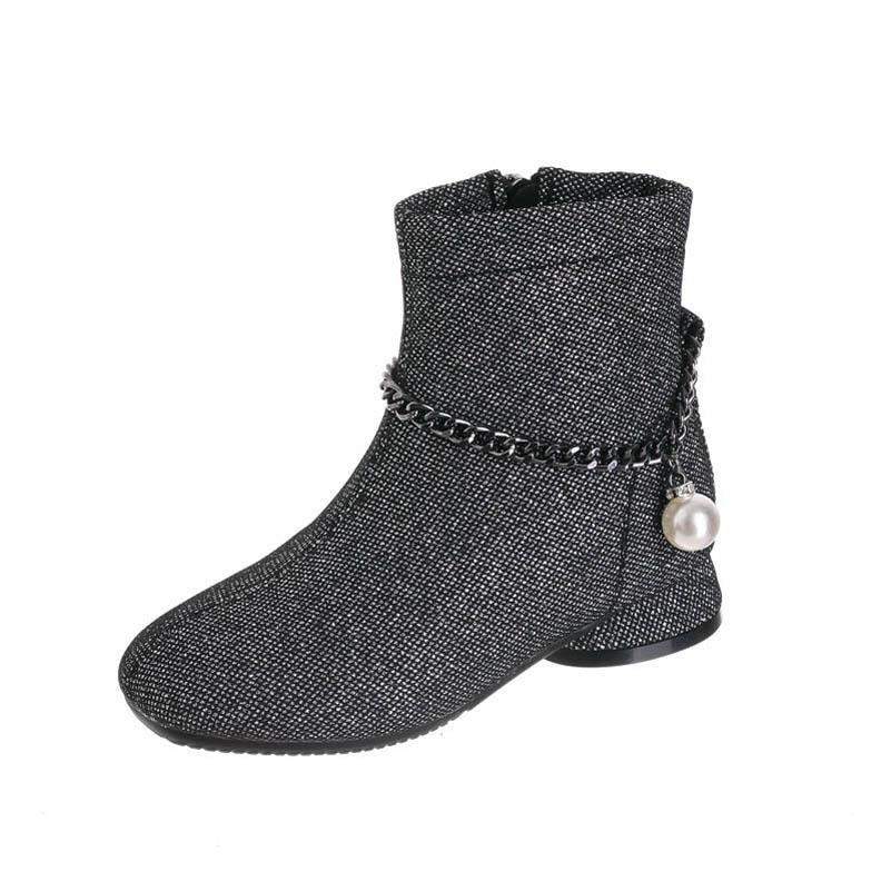 Childrens Boots Kids Shoes Girls Footwear Autumn Winter Casual Princess Leather Short Boot High-heeled Shoe B8576