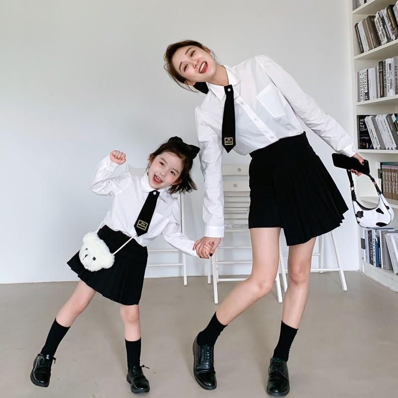 Colegio estilo padre-niño otoño escolar temporada nuevo uniforme niños corbata camisa conjunto mujer ropa mujer