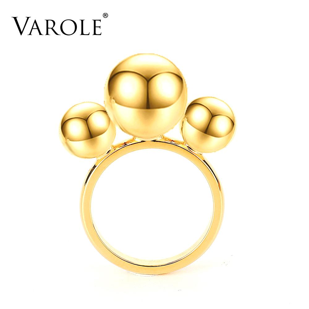 VAROLE Beads Rings For Women Gold Color Cute Ring Fashion Jewelry Party Anillos Mujer