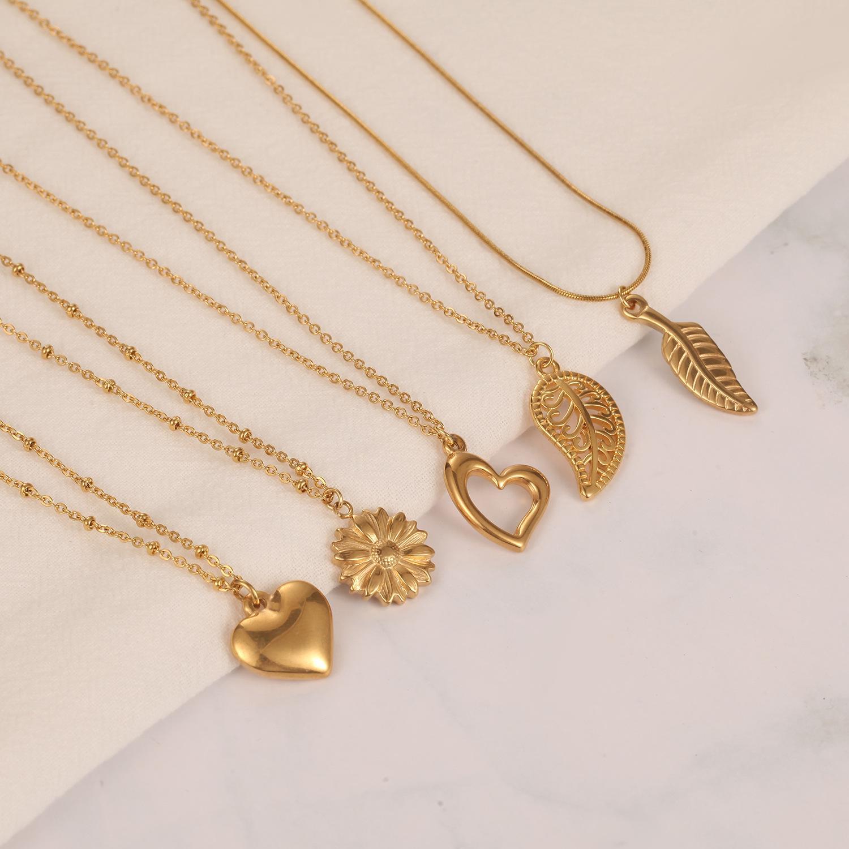 316L Titânio aço oco folhas de girassol charme colar sem fade 18k banhado a ouro amor coração coração pingente colar