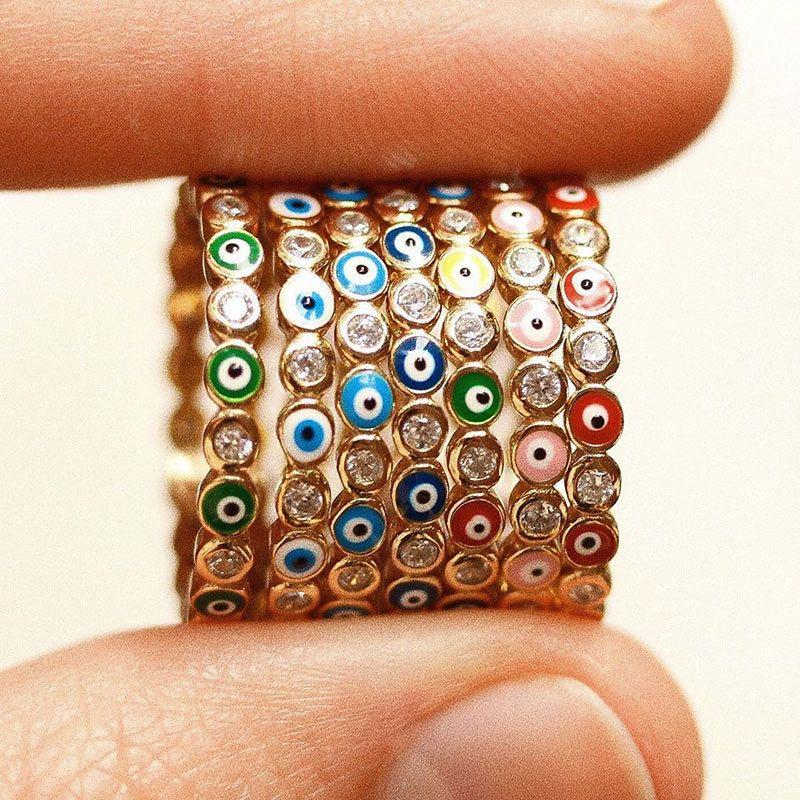 البوهيمي قوس قزح الشر العين حجر الراين شغل الذهب حلقات مع الأحجار الجانبية خمر السيدات ميدي كونلي البنصر خاتم مجوهرات للنساء