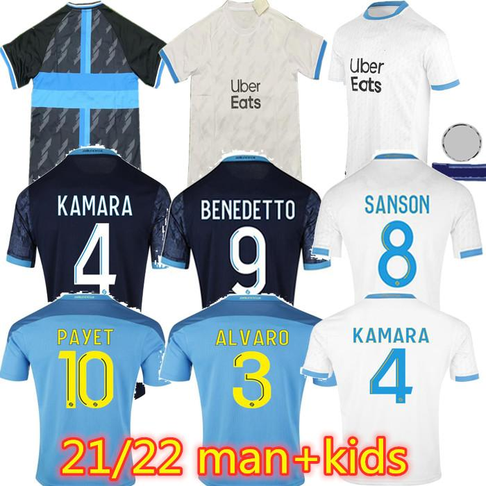 Olympique de Marseille Jersey Home and Away 2021 2022 Om Maillot Foot Man + Kids Payet Thauvin Benedetto Jerseys 20 21 22 Milik Camisas