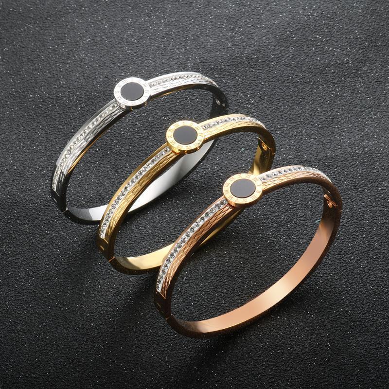 Mode schwarze shell römische digital armband titanium stahl weiße schlammbohrer kristall armreif für frauen männer paar hochzeit schmuck