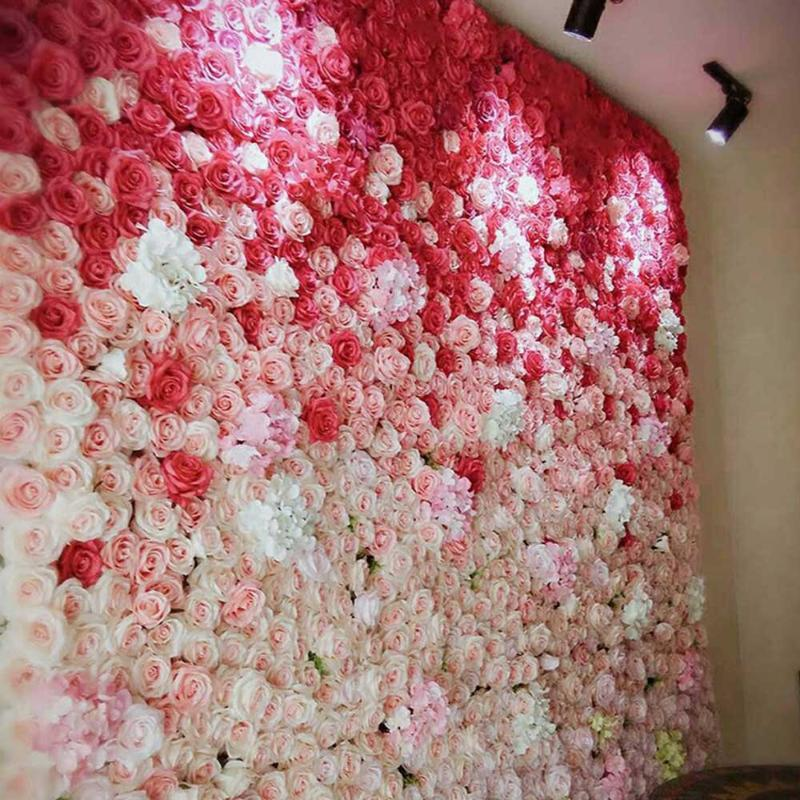 60*40cm Wedding Backdrop Flower Arrangement Party Event House Decor Artificial Wall Silk Rose Fake Flowers DIY Garland Decorative & Wreaths