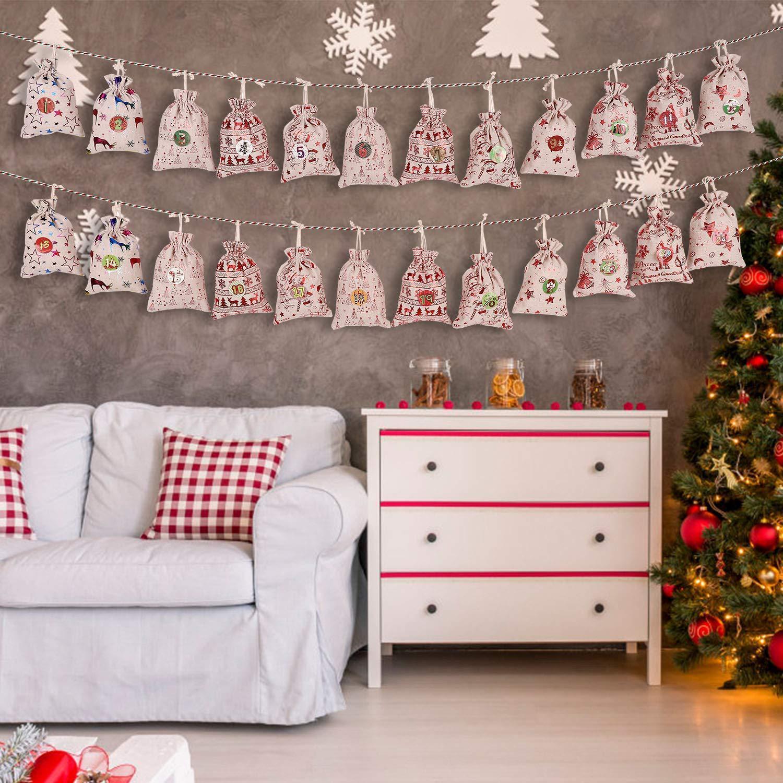 2020 Nuevo producto Navidad Algodón Bolsa de lino Conjunto Árbol de Navidad Decoración Bolsa de regalo Bolsa de regalo para niños Ornamento Adorno Correa de correa de correa