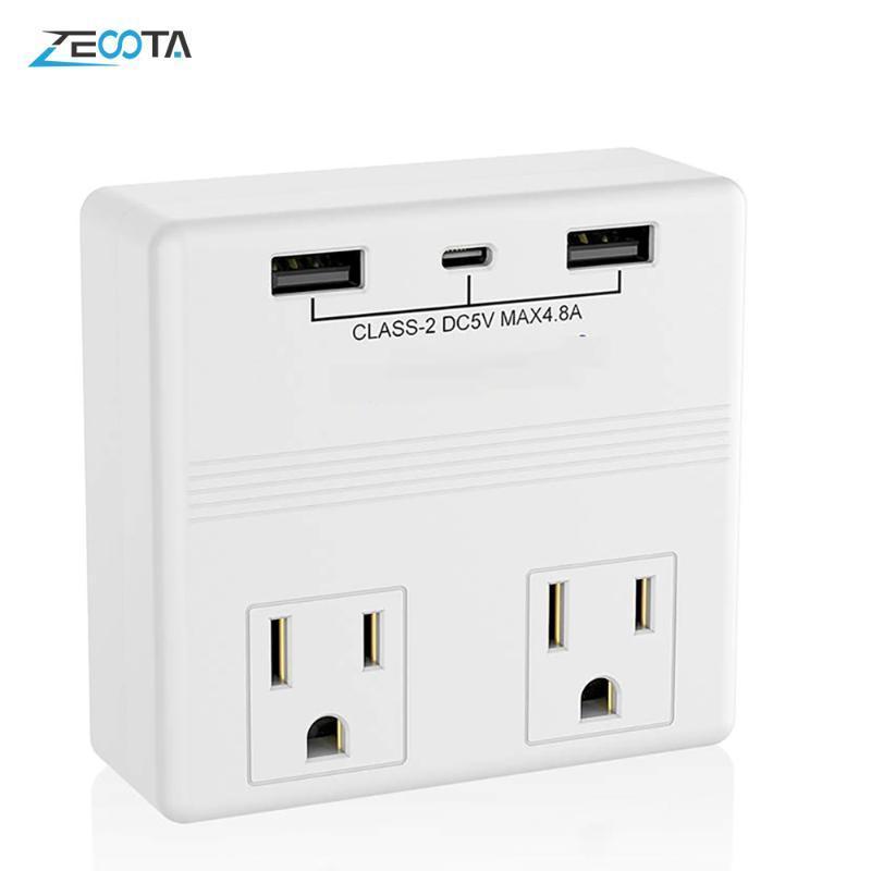 스마트 파워 플러그 소켓 미국 벽 플러그 2 웨이 아울렛 듀얼 USB C TYPE-C 충전기 4.8A 홈 오피스 엘을위한 빠른 빠른 충전 여행 어댑터
