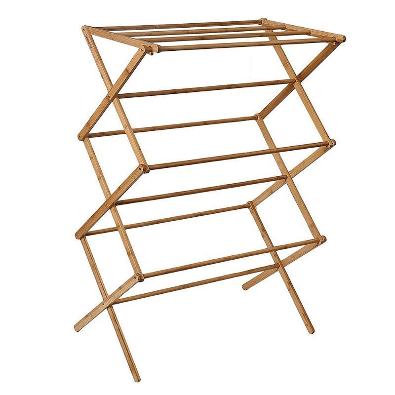 Cintres racks 1PC Porte-séchoirs à vêtements rétractables en bambou multi-fonctionnel (chocolat)