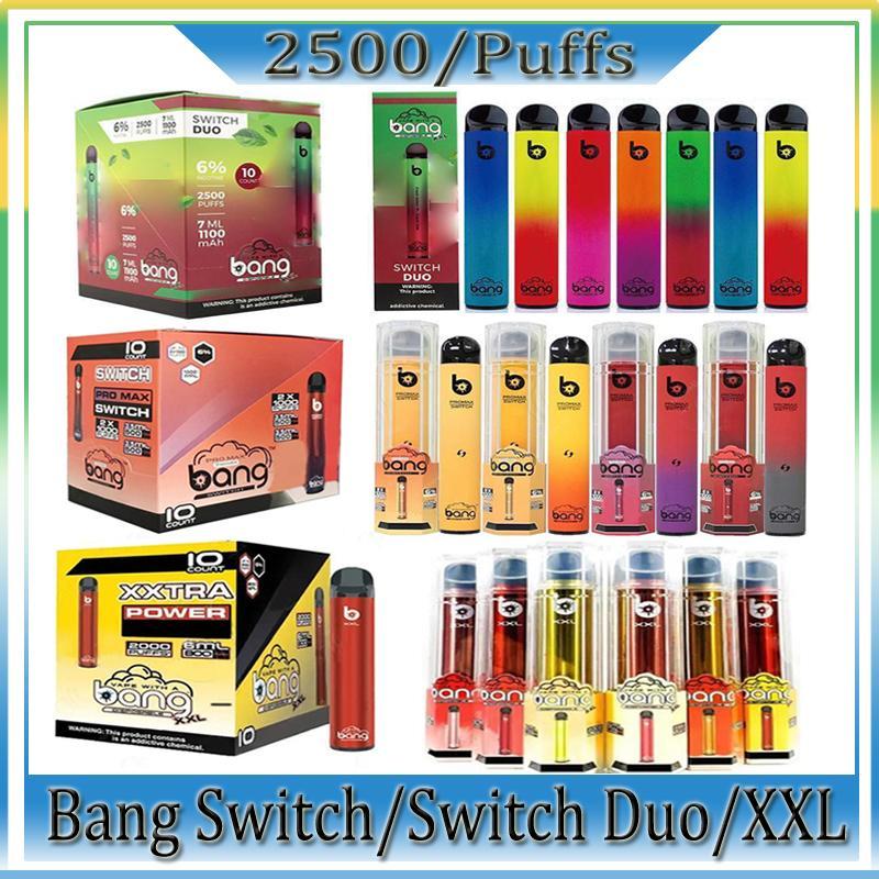 Bang Pro Max Switch XXL Duo 일회용 전자 담배 1 장치 8ml 포드 1100mAh 2000 퍼프 vape 펜 공장 도매