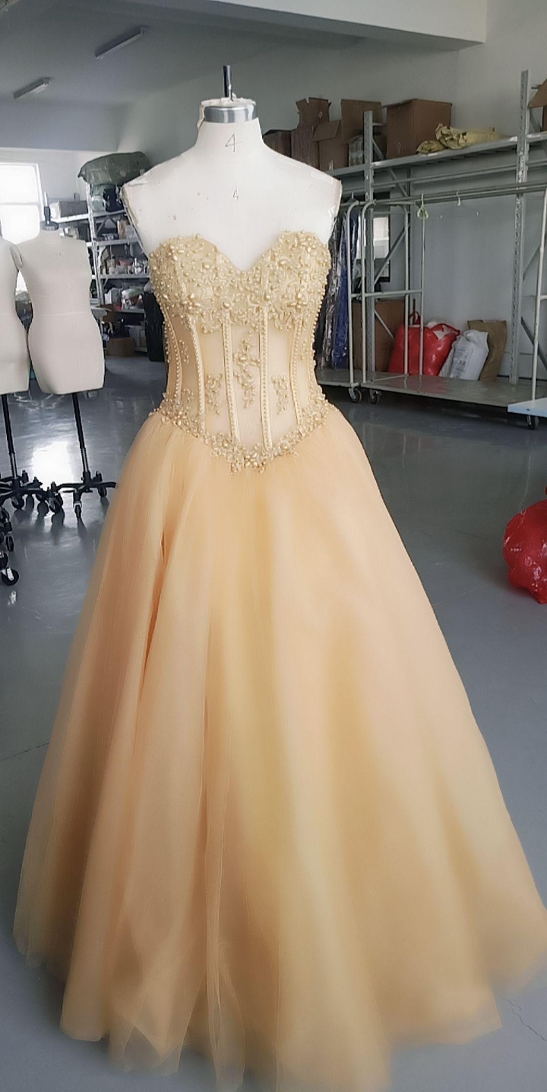2021 Pics Pics Aline Sweetheart Pearls Abito da sera Zipper Tulle Formale Pageant Prom Abbigliamento personalizzato