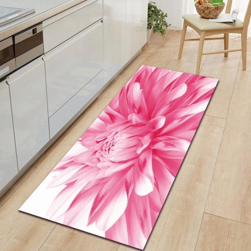 Série de fleurs Anti-Slip Polatins Saisie de porte Tapis Front Tapis de décoration de la maison pour la cuisine Salon