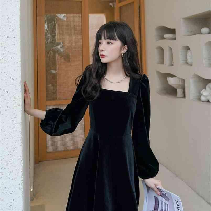 S-XL 플러스 사이즈 스프링 드레스 소녀 솔리드 여성 빈티지 파티 벨벳 저녁 긴 소매 여성 Es Robe Vestido 210423
