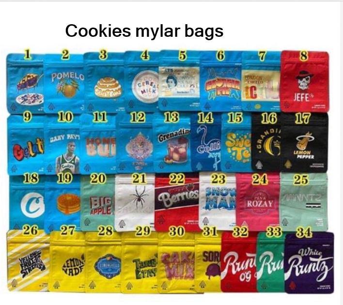 Stock sale Cookies Bag 3.5G 1 8 California Medellin YA HAMI LondonChello Pineapple Packaging Mylar Runtz Bags Wholesale