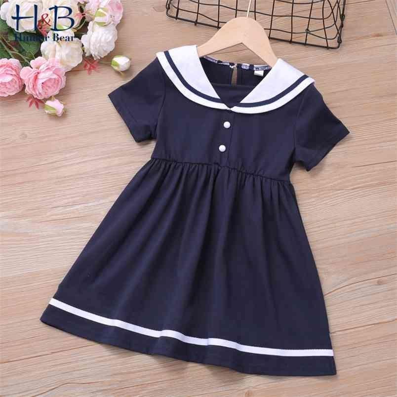 Yaz Kız Elbise Kısa Kollu Yaka Prenses Parti Tatlı Çocuk Giysileri 2-6Y 210611