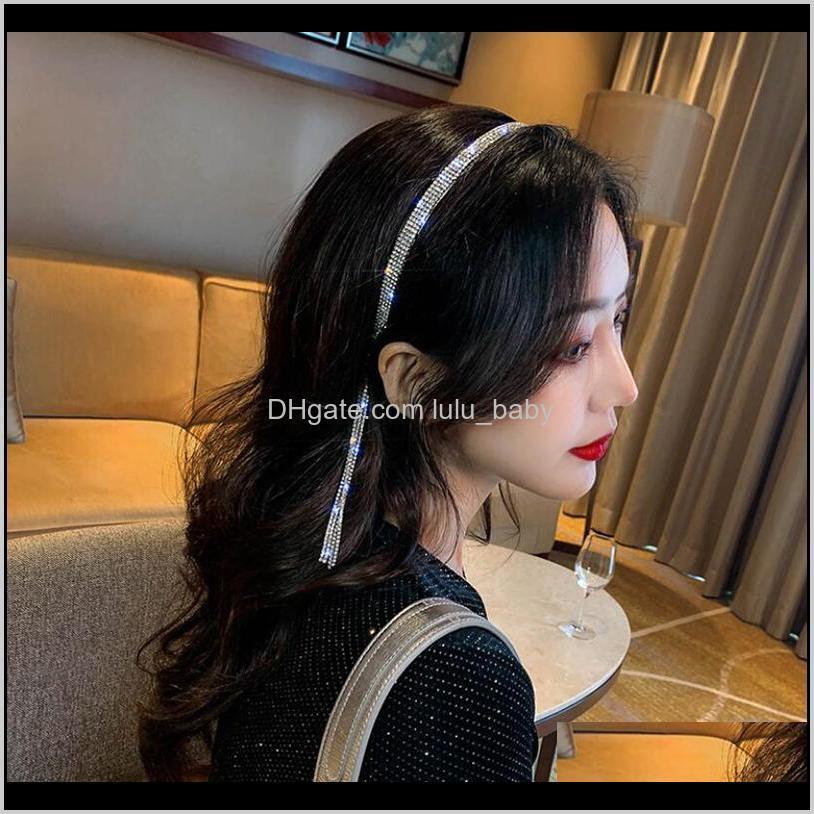 Luxury Rhinestone Hairbands Tassel For Women Elegant Hair Hoop Shinny Party Wedding Sweet Girls Accesories U4Jr6 A20Yu