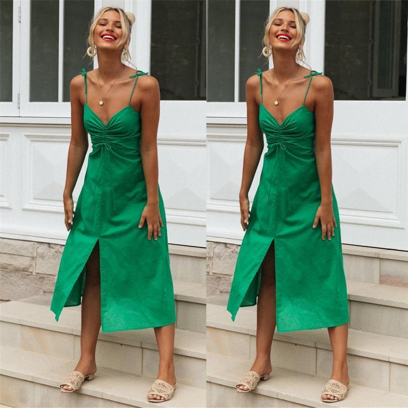 Leisure Vacation Beach Strolling Sling Hem Split Dress Female Sexy Women Vestido De Mujer Fashion Clothing Casual Dresses