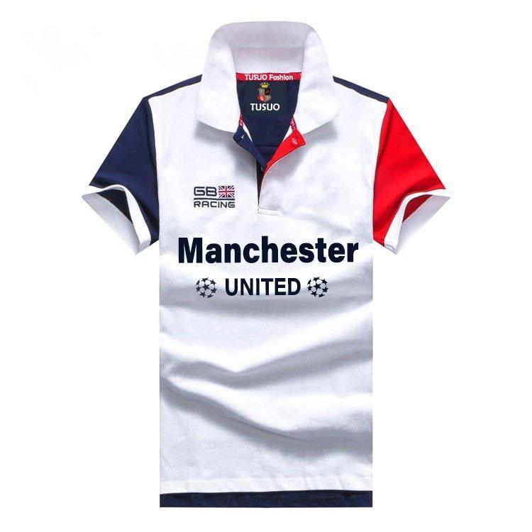 Versión europea y americana de polo camiseta de gran tamaño Malla de malla de malla de algodón Mangas cortas de solapa de fútbol