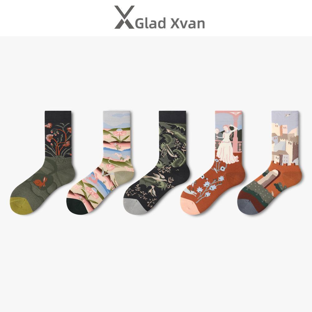 Erkekler Socksin gelgit Sokak Uzun Tüp Sonbahar ve Kış Yaratıcı Yağlıboya Resim Çorapları4Bjy