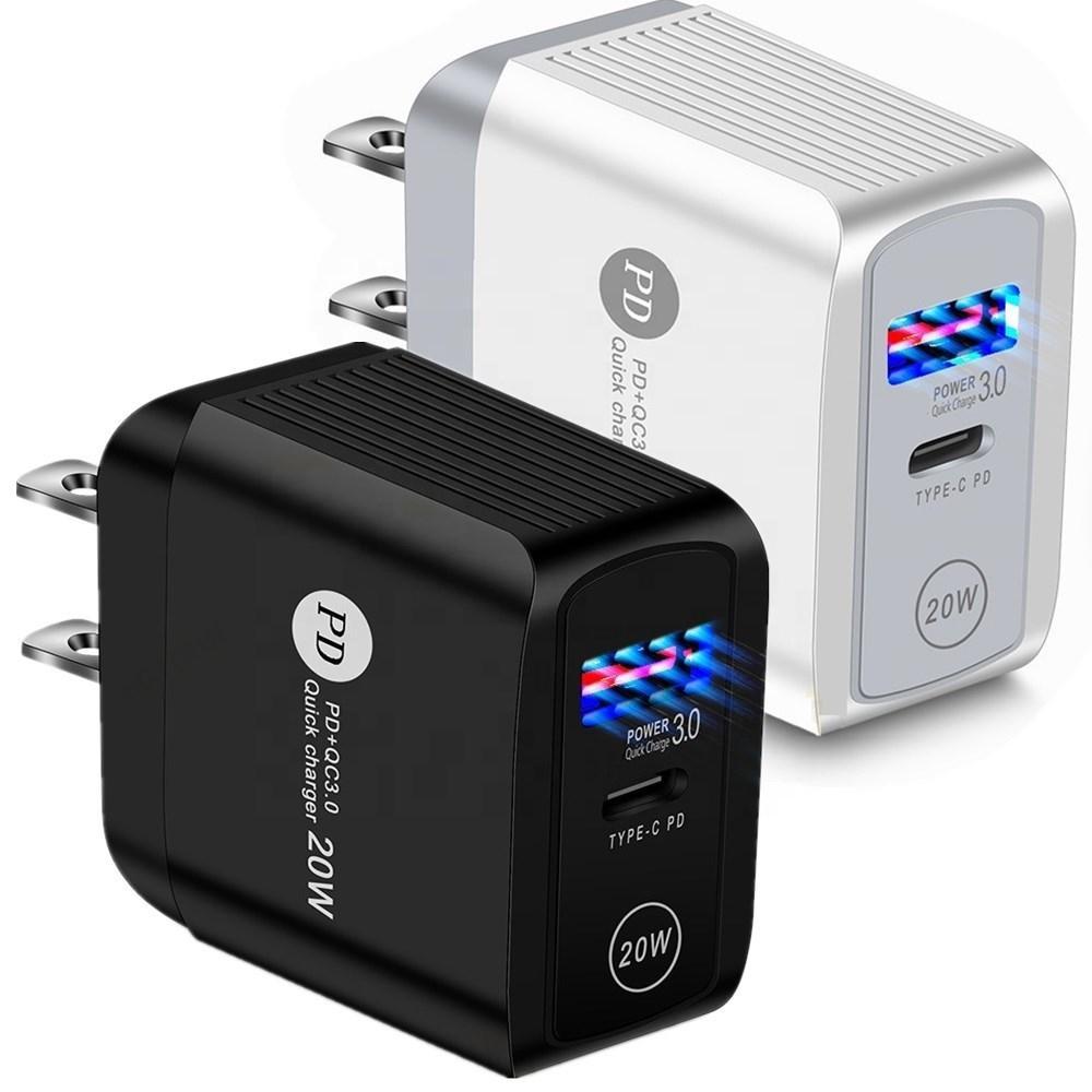 18W 20W QC 3.0 PD 듀얼 USB 벽 충전기 US EU UK 플러그 아이폰 11 12 Pro Max X XR 7 8Plus Samsung Note 20 어댑터