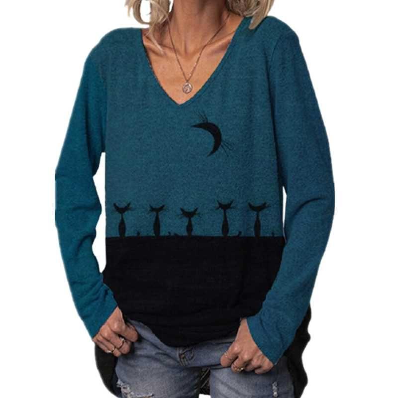 Gatos de pie en la luna Impresión camisetas Mujeres de manga larga 3xl 4xl Talla grande Tamaño Casual Tshirt V-cuello en V Tops para mujer Camiseta para mujer
