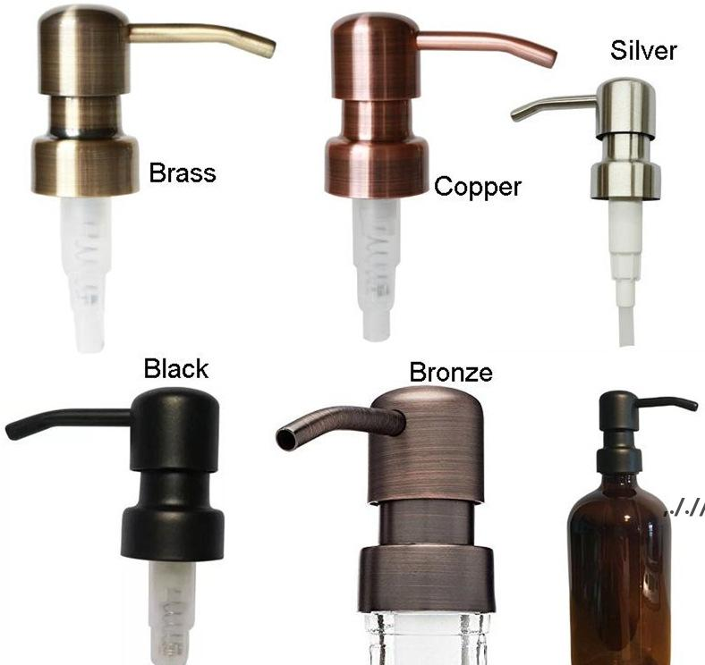 Distributeur de savon en gros de 28/400 Distributeur de savon noir Bronze Rust Sois 304 Pompe liquide en acier inoxydable pour cuisine JAR de salle de bain non inclus dwd7528