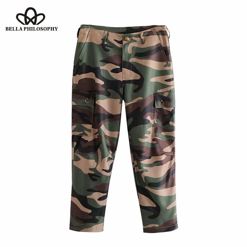 Bella filossophy bolsos vintage camuflagem calças de carga zíper voar streetwear calças casuais pantalones mujer 210519