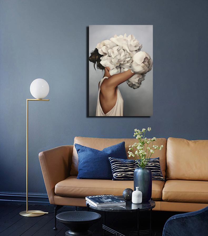 40x60cm Vernice Abstract Modern Flowers Donne Donne Pittura ad olio DIY Numero su tela Home Decor Figure Immagini Regalo RRD6234