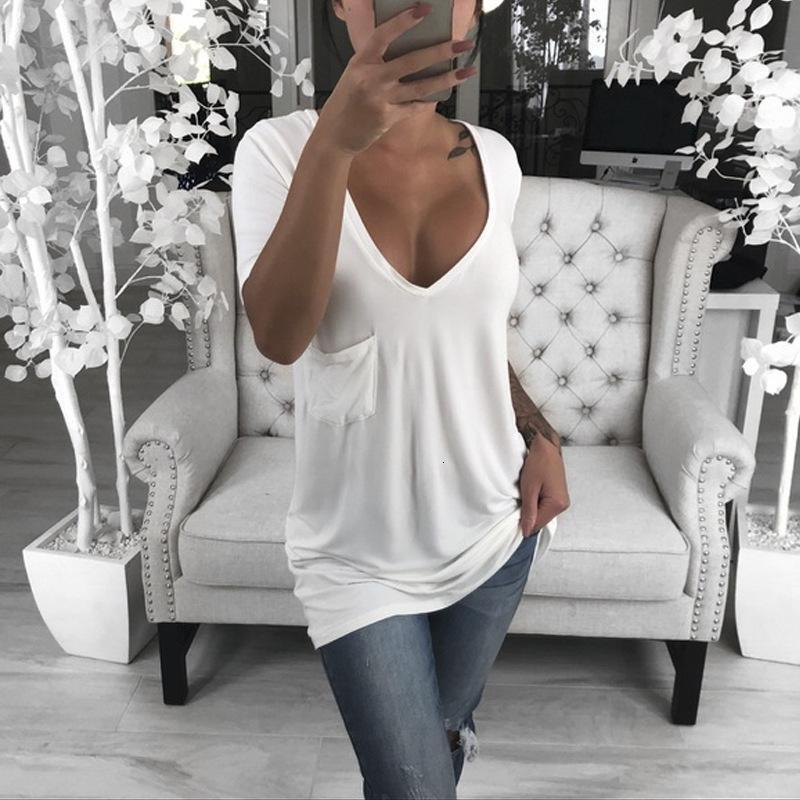 Womens T-shirt Lässige Mode All-Match-Sommer-V-Ausschnitt T-Shirt Kurzarm-Massivfarbe Top Casual geeignet zum Laufen