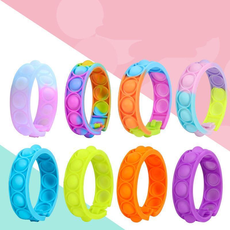 Giocattoli di decompressione Push Bracelet Press Bolla Photosensitive Color Change Puzzle SensoryToy per bambini Fidget Vent Toys DHL Ship 2021