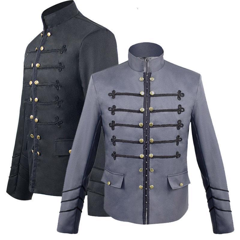 Jaquetas masculinas estilo gótico vitoriano steampunk militar casaco gancho fecho jaqueta blazer terno faixa colar bordado para homens