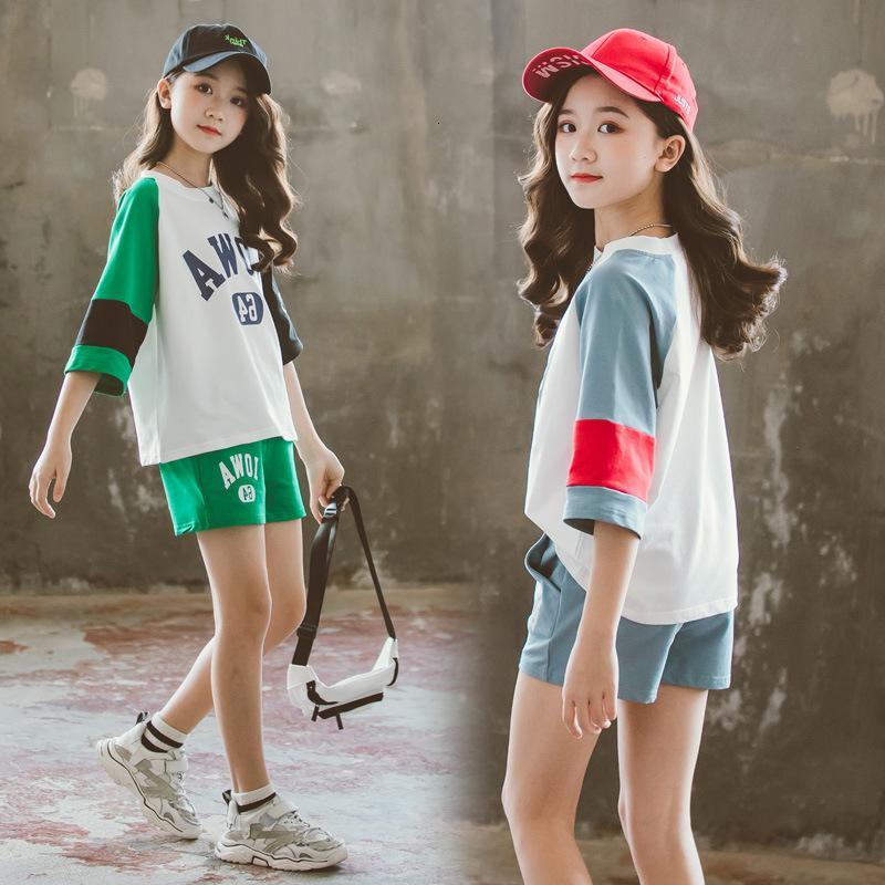 Manga corta 2021 Nuevo verano coreano Casual 'Traje de niñas de dos piezas Desgaste de los niños