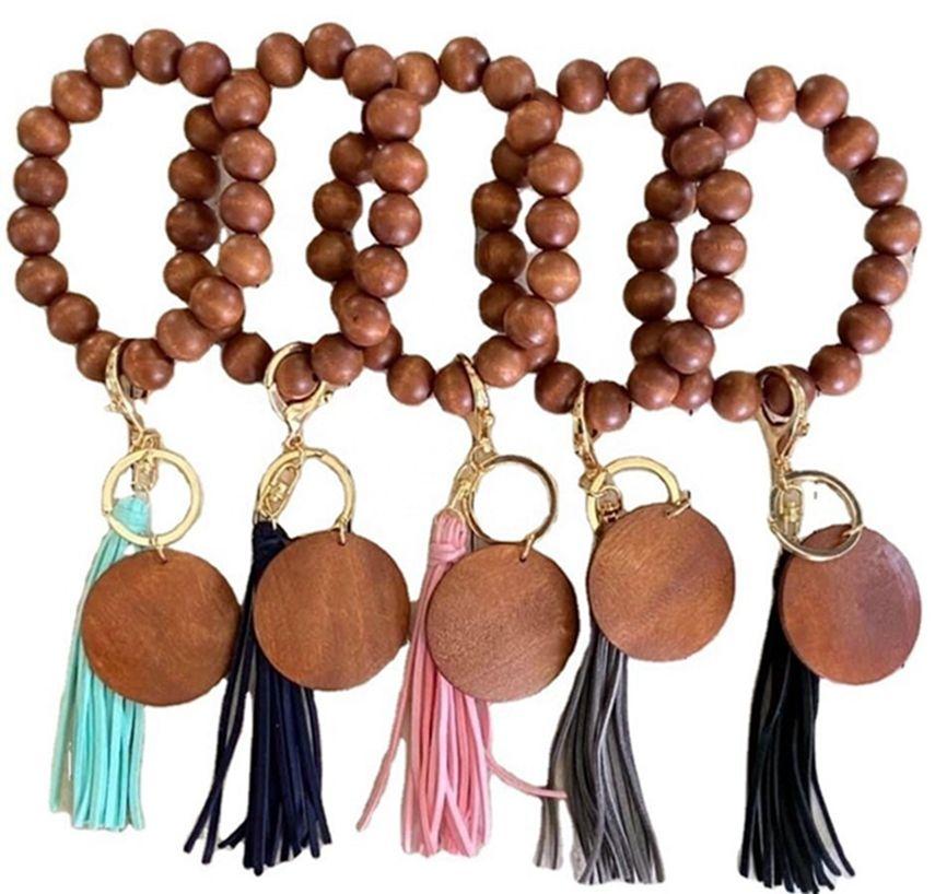 6 styles bracelet en bois Keychain avec glands clés bricolage bois bricolage bois de perles de perle de perle de bille décorer de mode LLA654
