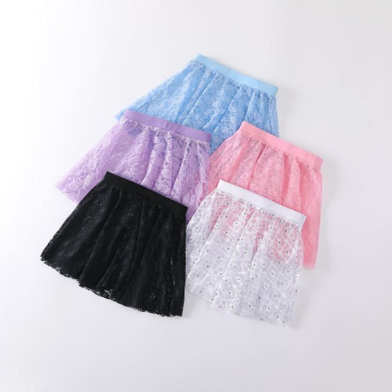 Kinder Mädchen Kids Concise Weiche Spitze Dekoration Elastische Taille Tanz Praktizieren Rock Röcke