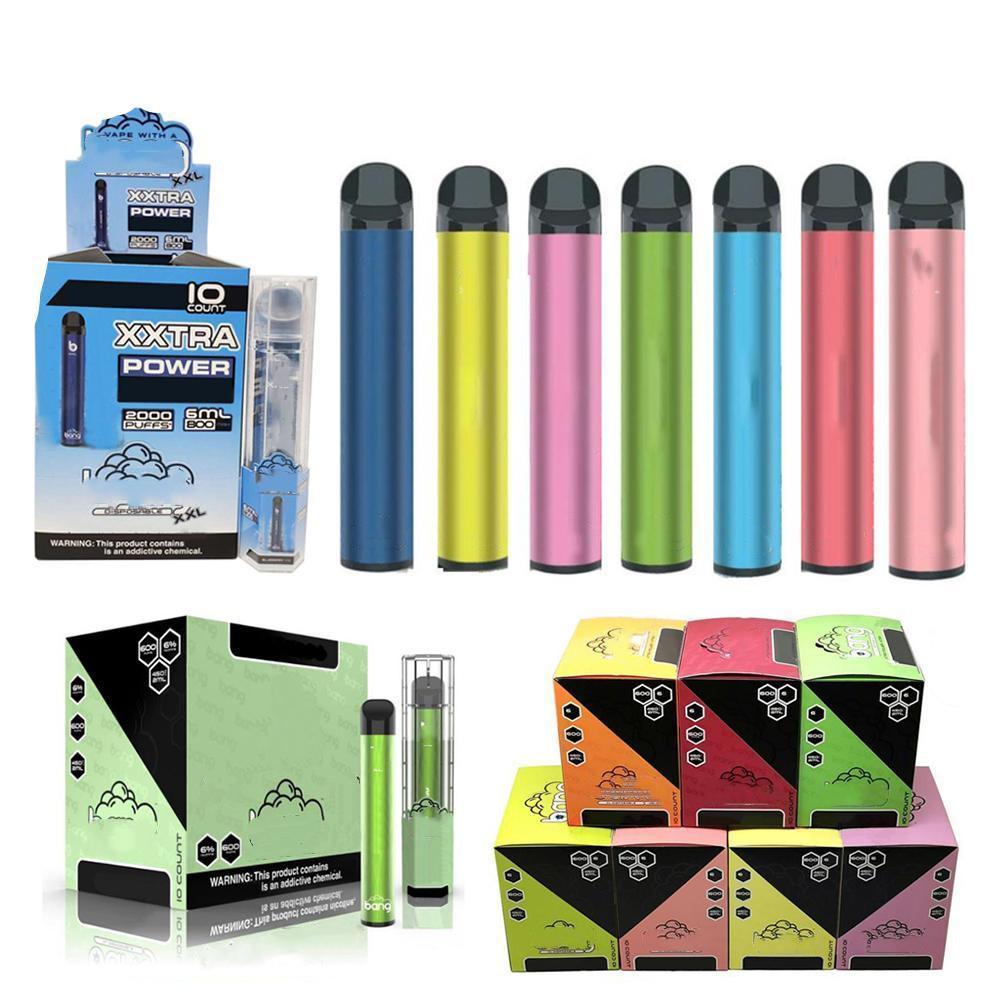 Dispositivo de cigarros eletrônicos de vitela descartável XXL de cigarros eletrônicos 800mAh Bateria 2000 Puffs Não há necessidade de preenchimento 6% Pods Vazes Vapors Kit