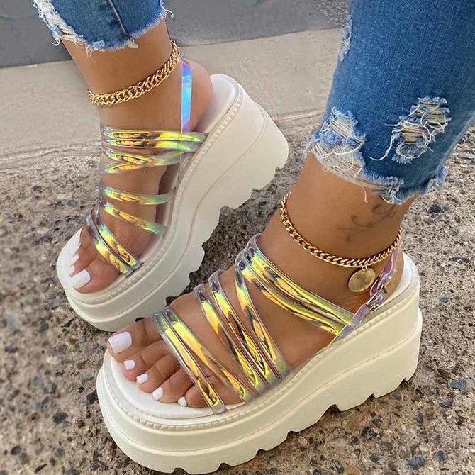 Plataforma sandalias mujeres cuña tacones altos zapatos mujer hebilla cuero zapatos blancos verano zapatos mujer cuñas mujer sandalias zapatos rosados salinas agua sandalias g2tv #