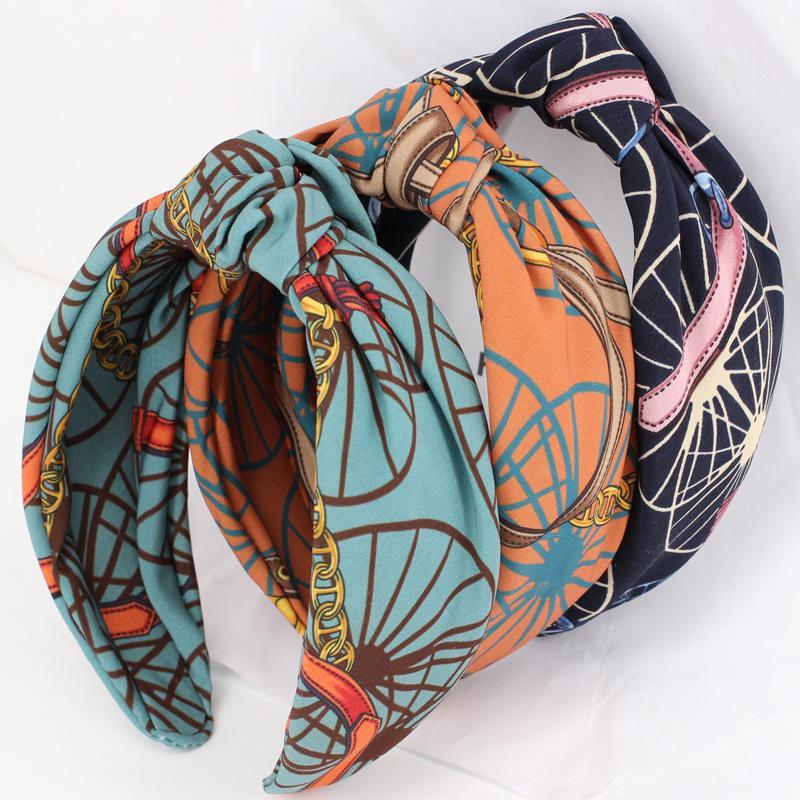 Moda tela rueda patrón diadema mujeres anchos hairband cruz nudo nudo banda casual turbante accesorios para el cabello