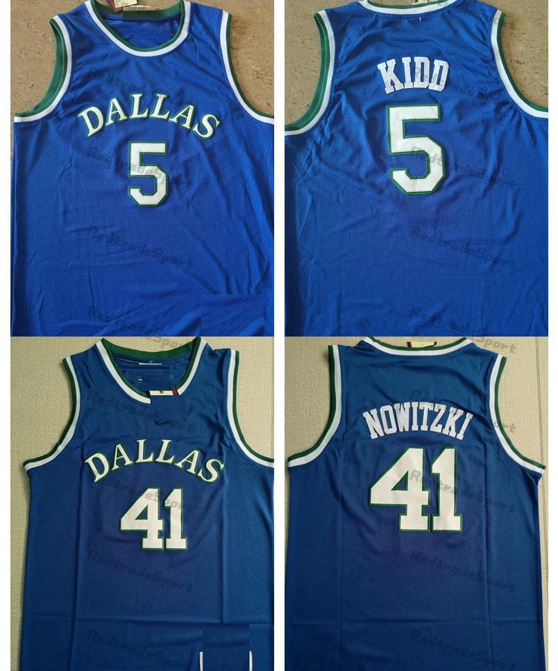 خمر كرة السلة الفانيلة رجل أزرق 5 جيسون كيد 41 ديرك Nowitzki مخيط قمصان S-XXL