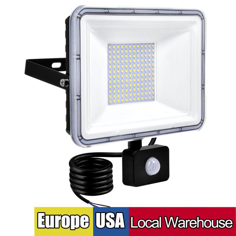 20W светодиодный датчик движения наводнения на свежем освещении на открытом воздухе, 100 Вт 50 Вт 30 Вт 10 Вт PIR индукционная лампа, интеллектуальный свет, 6000К, прохладный белый, супер яркая водонепроницаемая безопасность