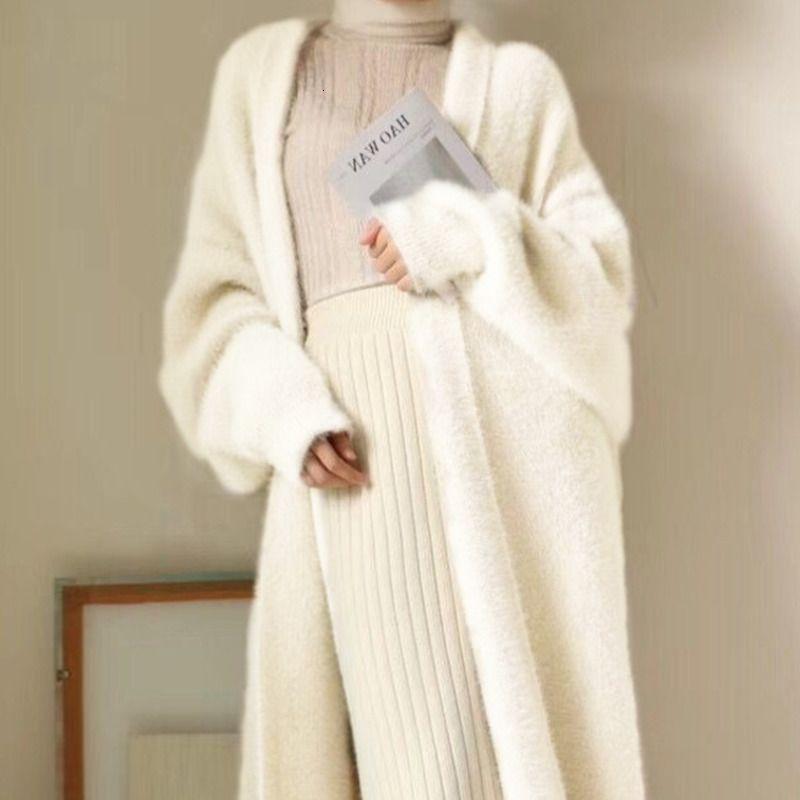 Knits Kış Giyim Kadın Faux Vizon Kaşmir Hırka Gevşek Çekin Femme Yarasa Kol Uzun Ceket Kalınlığı Sıcak Örme Kazak Dış Giyim ZA5P