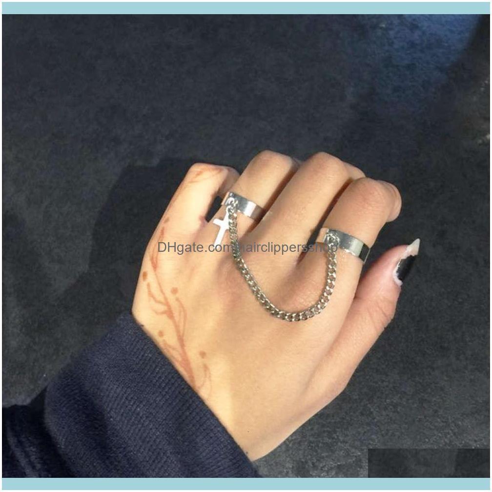 Anneaux de bande bijoux anneau de la chaîne transversale à chaîne de chaîne réglable pour femmes hommes hommes sier hip hip hop doigt doigt sec de bijoux goutte livraison 2021