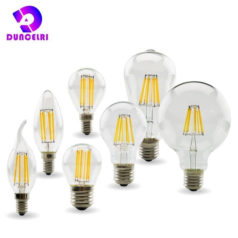 المصابيح الرجعية اديسون E27 E14 الصمام خيوط لمبة مصباح 220V-240 فولت ضوء C35 G45 A60 ST64 G80 G95 G125 زجاج شمعة خمر