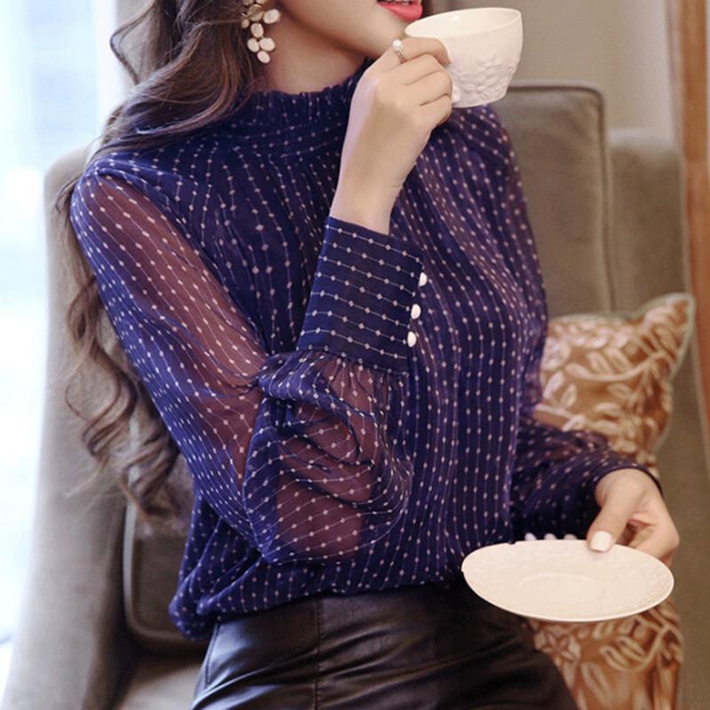 Yaz Kadın En Blusa Mujer Dantel Şifon Bluz Kadın Gömlek Uzun Kollu Bayan Üstleri Ve Bluzlar Bayanlar Artı Boyutu Kadın Gömlek