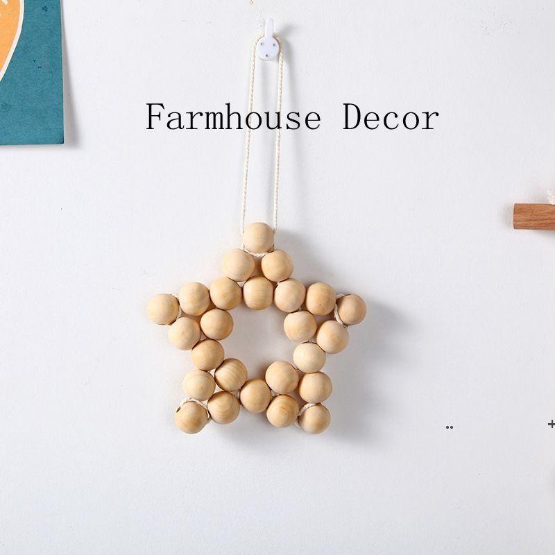 Holzperlen Fünfzeige Stern Hängende Anhänger Kinderzimmer Dekor ins Nordische Kreative Hanfseil Perlen Home Dekorative FWD6137
