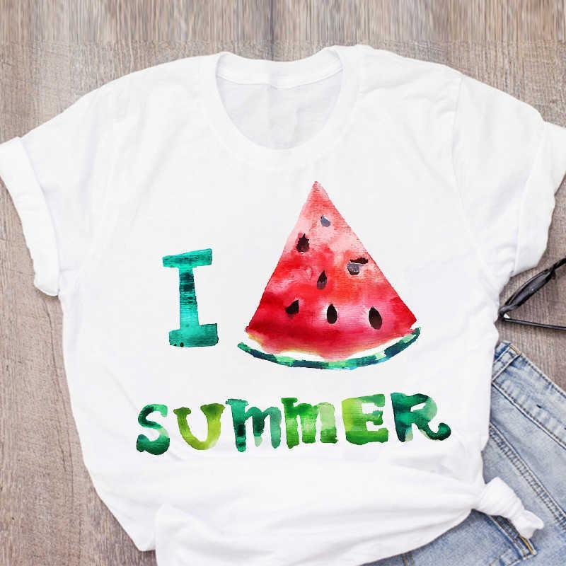 Mujeres Grafica Sandía Piña Impresa Fruta De Manga Corta De Verano Tops Tops Camiseta Camiseta Ropa Para Mujer Tee Camiseta femenina X0527