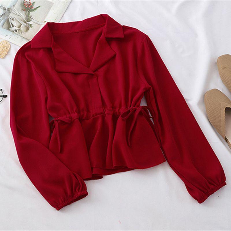 Korean version Chiffon Lapel shirt small fresh waist strap long sleeve short slim top women's fashion