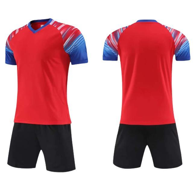 Benutzerdefiniert personalisiert Ihre Fussball Jerseys Shorts DIY Jeder Name Number Logo Sponsor Team Sport Training Uniformen für Männer Rot Fußball Set