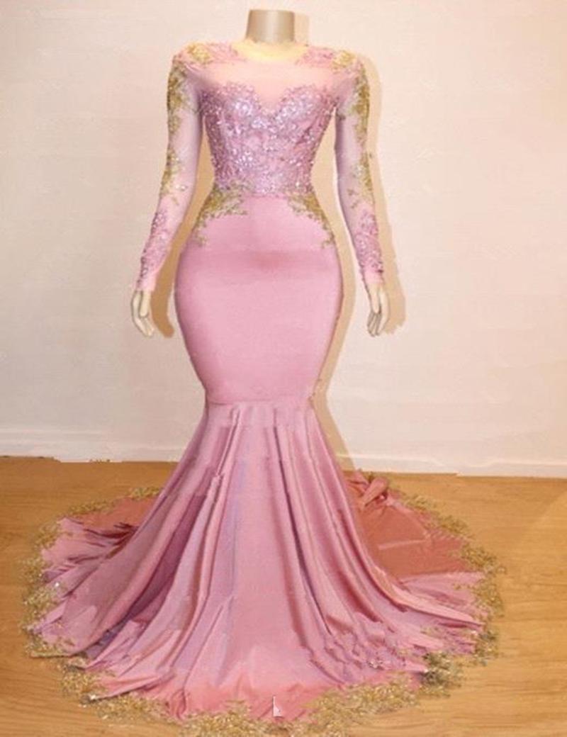 파티 드레스 2021 Sheer Long Sleeves Mermaid Prom Black Girl Gold Lace Applique 정장 가운