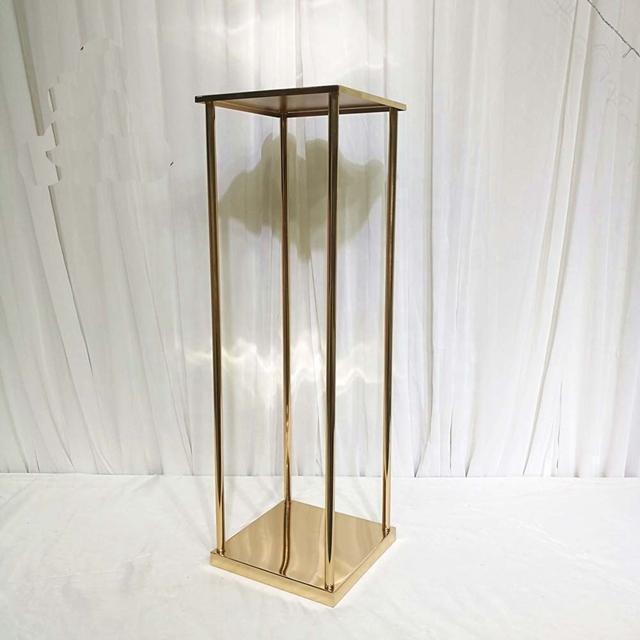 Decoración de la fiesta 10 unids cuadrados de la columna de la columna del jarrón del oro de la boda del cuadrado para la pieza central yudao1080